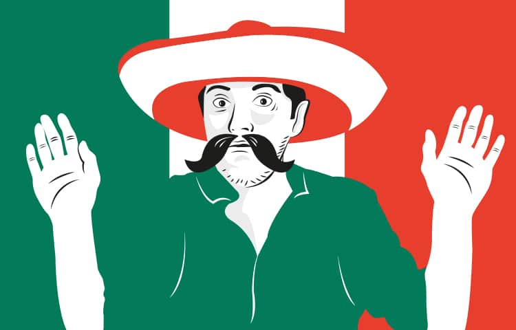 An illustration of a man in a sombrero, wearing a moustache and green shirt holding his hands up