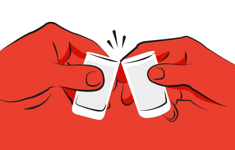 An illustration of two hands clinking together two shot glasses