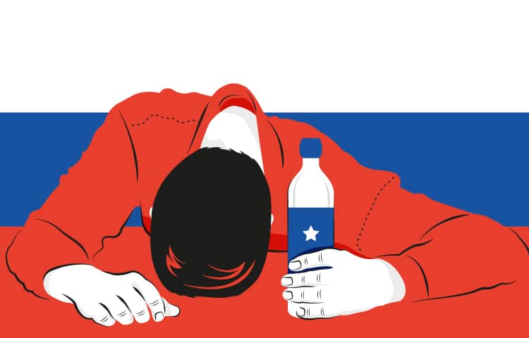 An illustration of a man with his head down on the table whilst holding a bottle of vodka