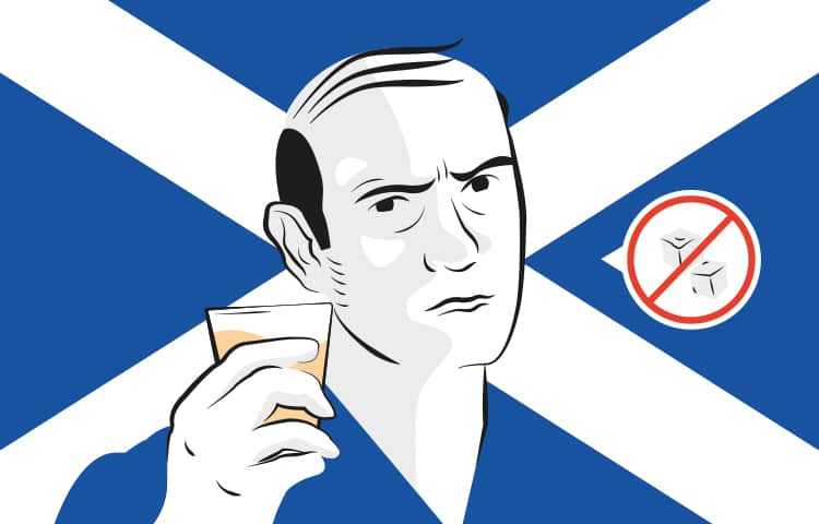An illustration of a Scottish man holding up a shot of whiskey