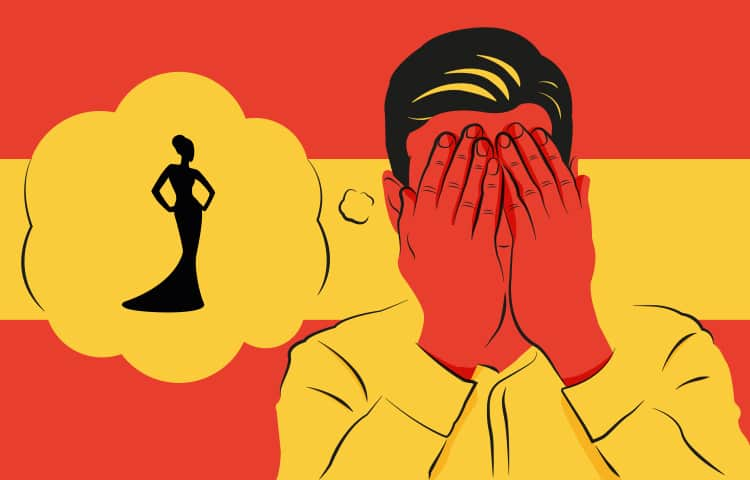 An illustration of a man holding his head in his hands, with a thought bubble containing an image of a woman's silhouette