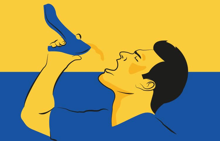 An illustration of a Ukranian man drinking out of a blue, high-heeled shoe
