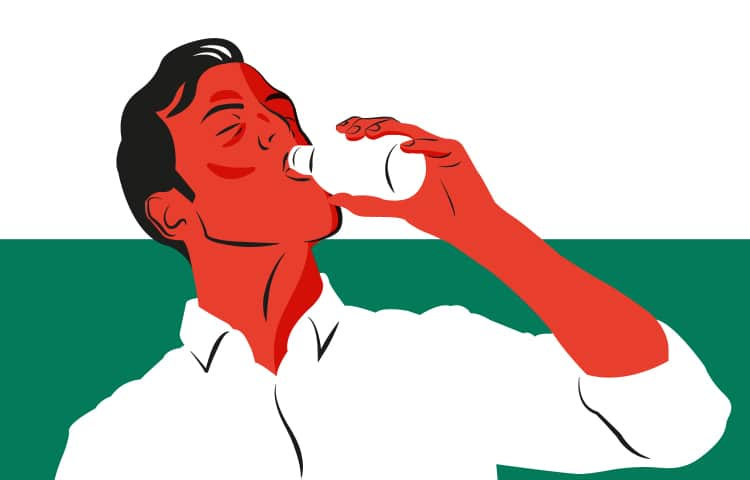 An illustration of a Welsh man drinking from a bottle
