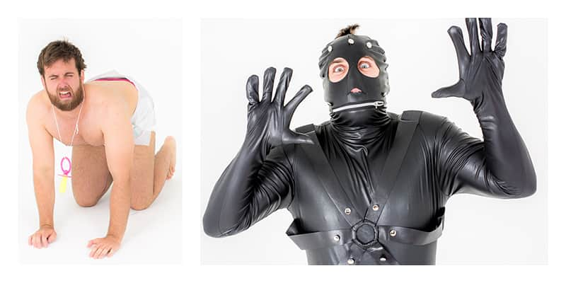 two pictures, one of baby costume, one of gimp costume