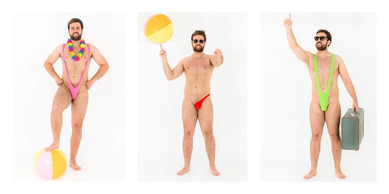 three pictures of Shameless Model in mankini and sidekini