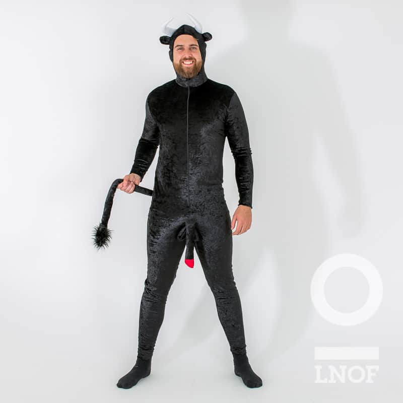 A man wearing a black horny devil onesie with added penis and tail