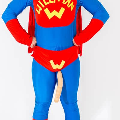A man wearing the Willy Man superhero costume