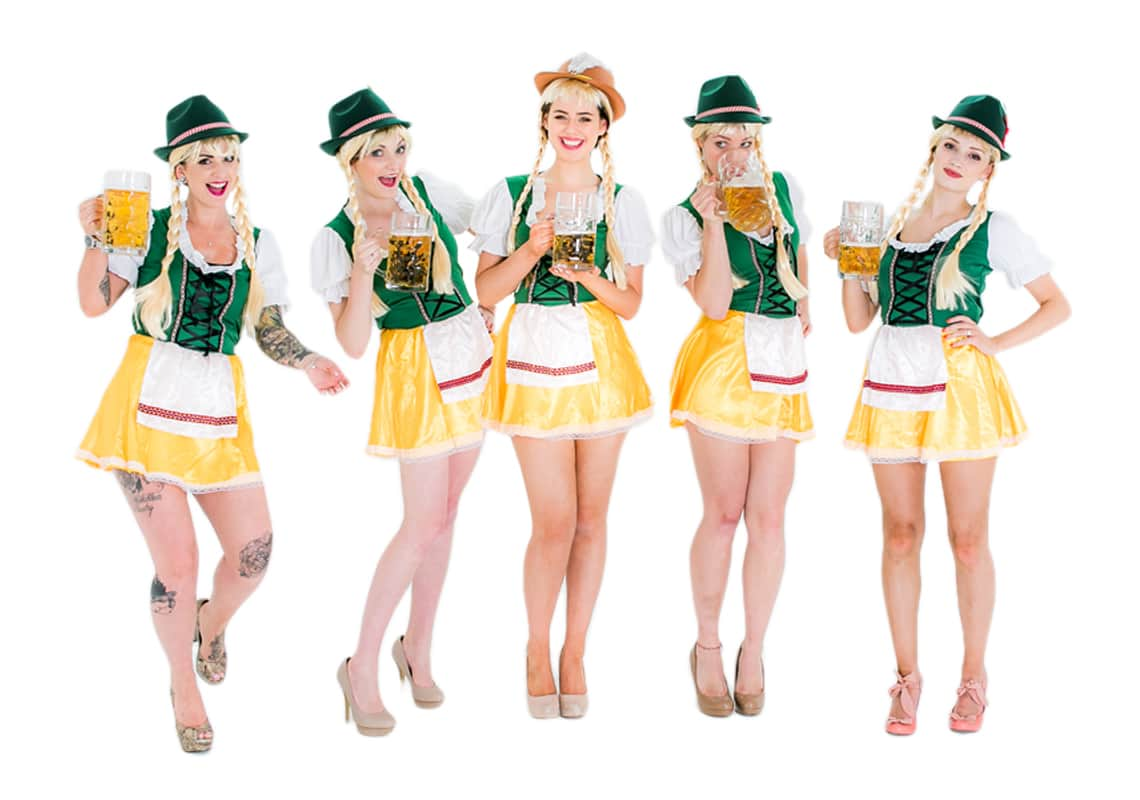 Oktoberfest style outfits with a selection of hats