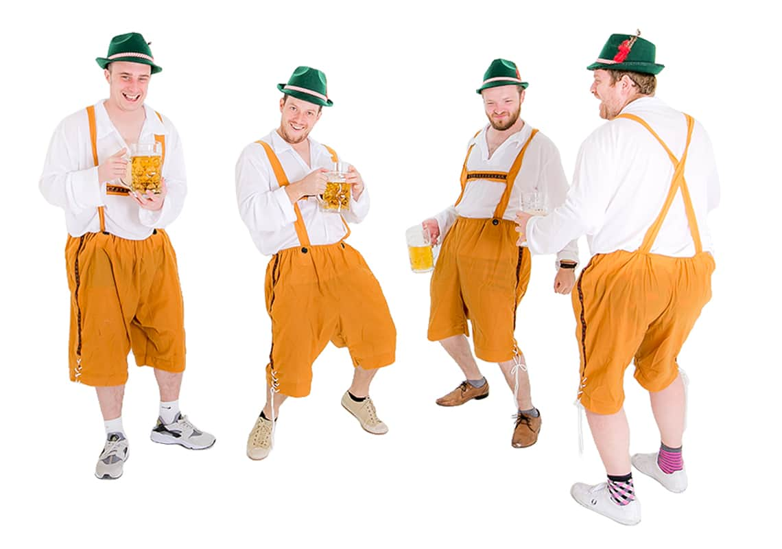 Orange Lederhosen with green hats