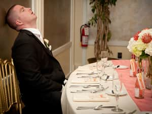 drunk man passed out at wedding reception