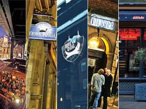 Five tiled images of some of the best real ale pubs in Newcastle