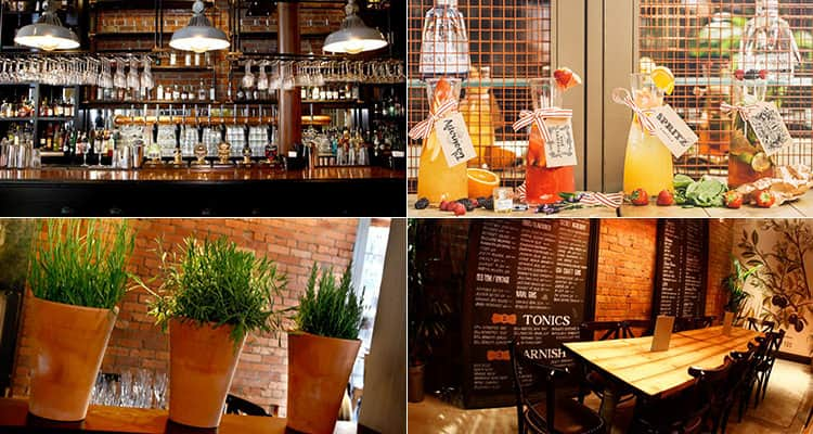 Four tiled images of the bar Pleased to Meet You in Newcastle, featuring the venue and cocktails