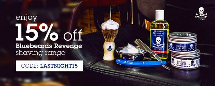 Bluebeards Revenge shaving promotion 15% off