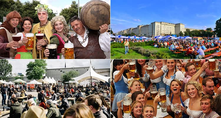 Four tiled images of the International Berlin Beer Festival, featuring images of revelers, the halls and the location
