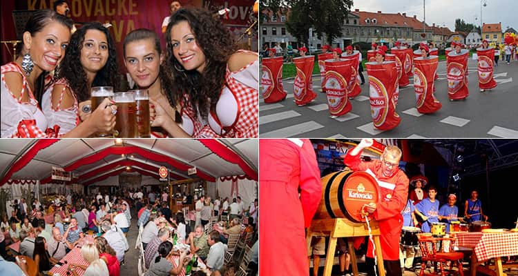 Four tiled images of the Karlovac beer festival in Croatia, with images including the parades, the beer maids and the beer halls