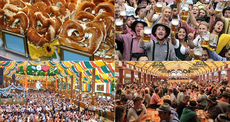 Four tiled images of the Oktoberfest beer festival held in Munich, featuring images of the hall and people drinking
