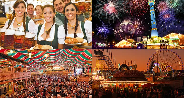 Four tiled images of the Cannstatter Volksfest, with images featuring beer maids, fireworks and the grounds