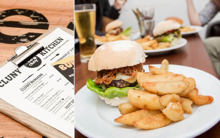 An image of a burger from The Cluny and a photo of the menu from the restaurant, in Newcastle Upon Tyne