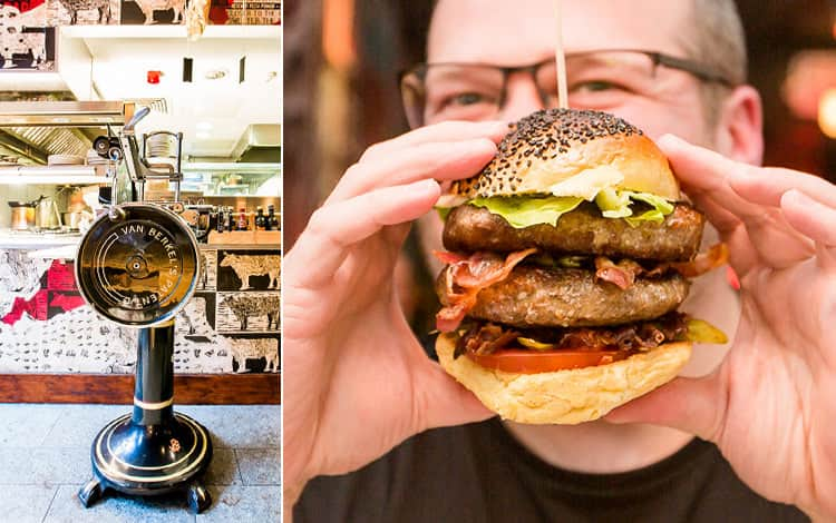 An image of a man eating a burger from dAt Bar and a close up of the meat grinder