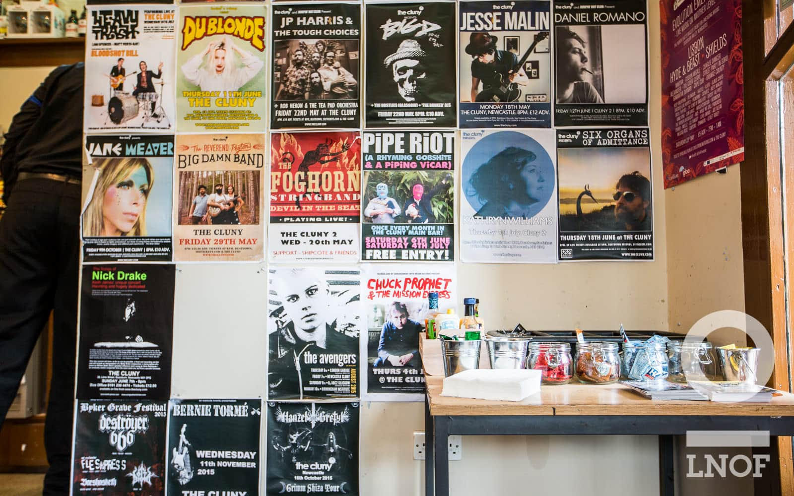 The music posters lining the walls at The Cluny, Newcastle Upon Tyne