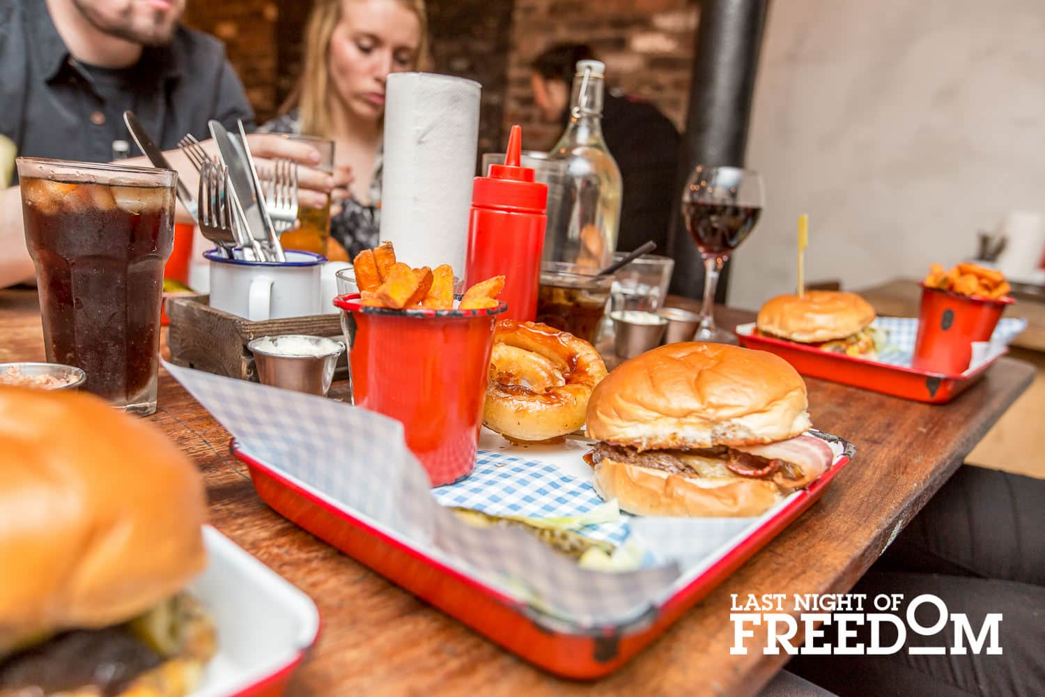 A close up of the delicious burgers at the Fat Hippo Underground eatery, Newcastle Upon Tyne