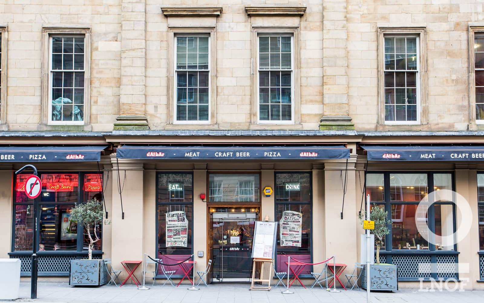 A shot of the exterior of dAt bAr, located in the city centre of Newcastle