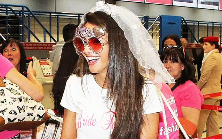 Michelle Keegan wearing the Bride-to-Be glasses from LNOF and jetting off for her hen do