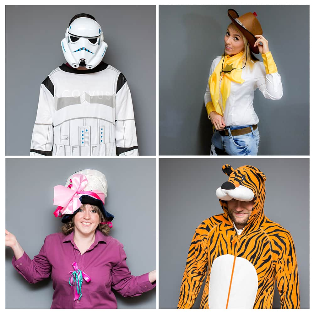 A four tiled shot of some of the staff at LNOF dressed up as a Stormtrooper, Tigger, Jessie from Toy Story and The Mad Hatter