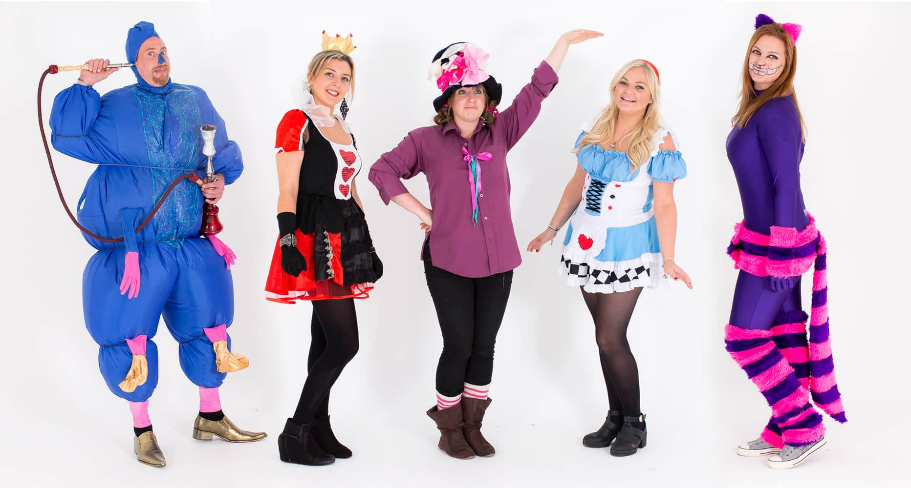 Some of the team from LNOF dressed up as Absolem, the Cheshire Cat, The Mad Hatter, Alice and the Queen of Hearts from Alice in Wonderland