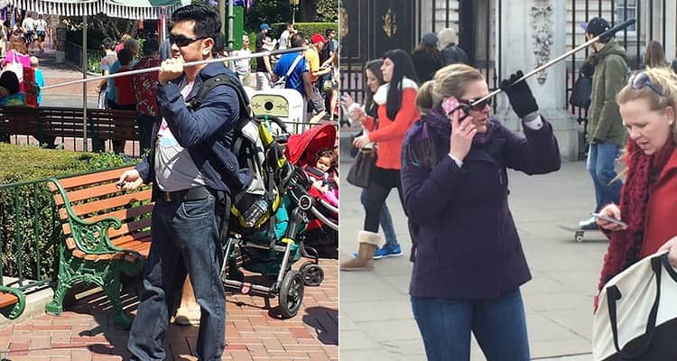 Two images of a woman on the phone whilst holding a selfie stick and a man holding his selfie stick above his shoulders