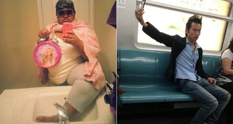 An image of a woman holding a princess alarm clock and putting her foot in the sink whilst taking a picture of herself and a man on the subway taking a selfie