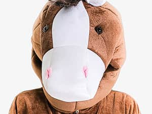 A close up image of the head of a horse onesie