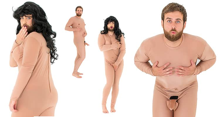 Two images of model wearing crazy naked lady costume, and two wearing crazy naked man, with hands covering different body parts