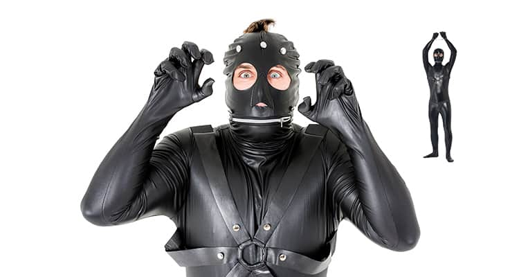 Two images of model wearing stag party gimp costume, one close up and one full body image with hands in the air