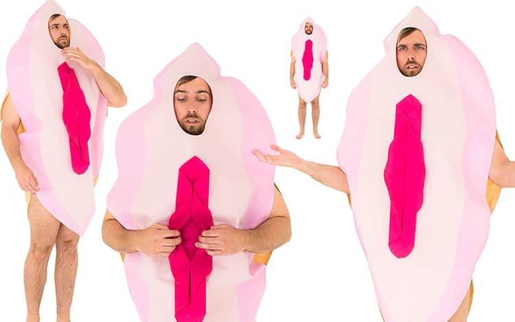 Four images of model wearing giant pink vagina costume, from different angles