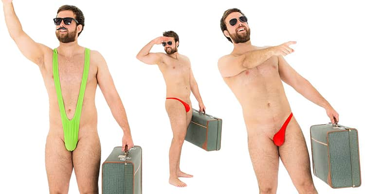 Three images of model, one wearing a mankini and two wearing a sidekini, all carrying suitcases