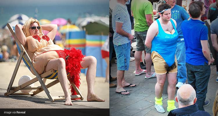 Two tiled images, one of a man relaxing in a deck chair in a fat suit with fake boobs, and one of a man stood in a crowd wearing a blue fat suit with fake boobs