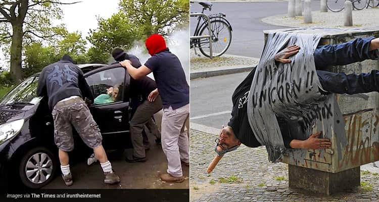 Two tiled images, one of three men wearing balaclavas and pulling a person out of a black car, and one of a man gaffa taped to a bin with a penis strapped to his head