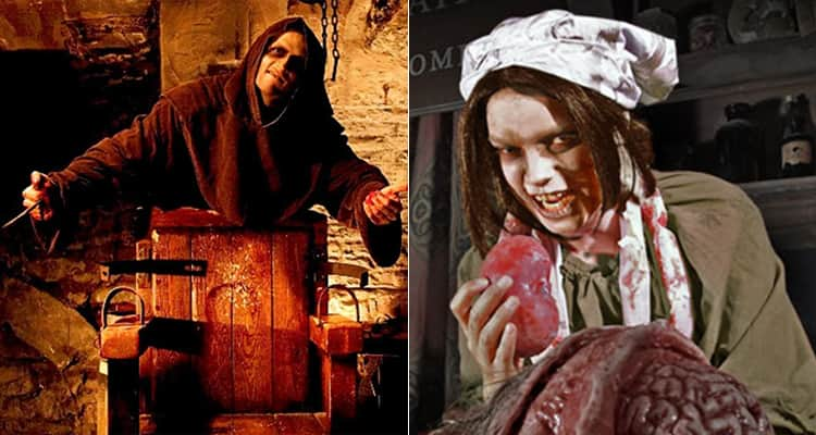 Two tiled images, one of a man in a cloak stood behind a chair with his arms spread and a woman covered in blood and pretending to eat a fake heart