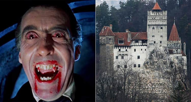 Two tiled images, one of a fake still of the film Dracula showing his head and the other of Bran Castle