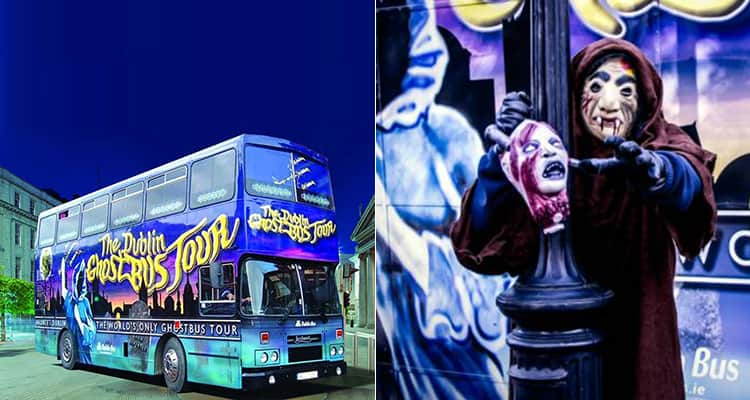 Two tiled images, one of the Dublin Ghost Tour Bus and one of spooky male models posing for the camera