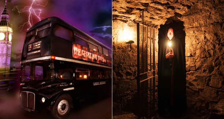 Two tiled images, one of the bus for Edinburgh Ghost Tour and one of a cloaked man in a doorway holding a candle