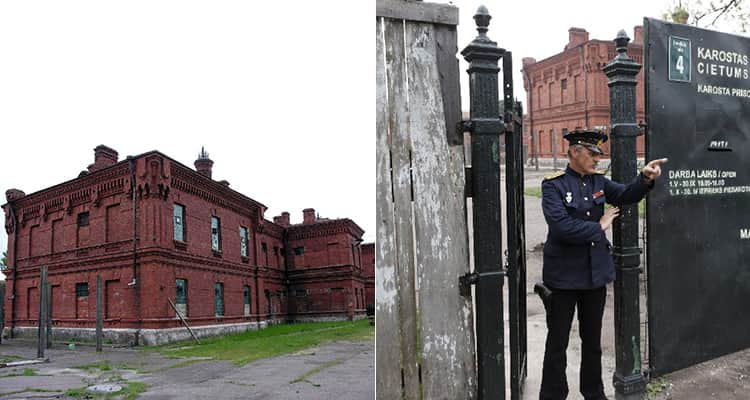 Two tiled images, one of the exterior of a disused military base in Riga and one of a guard standing at the gates and pointing