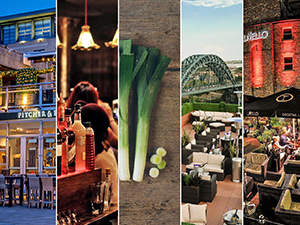 Five tiled images of Newcastle Quayside bars - including Pitcher & Piano, Popolo, Red House, Sky Lounge and Livello