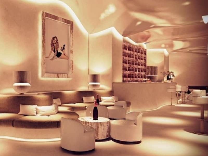 The luxurious and white interior of Pacha nightclub, Poznan