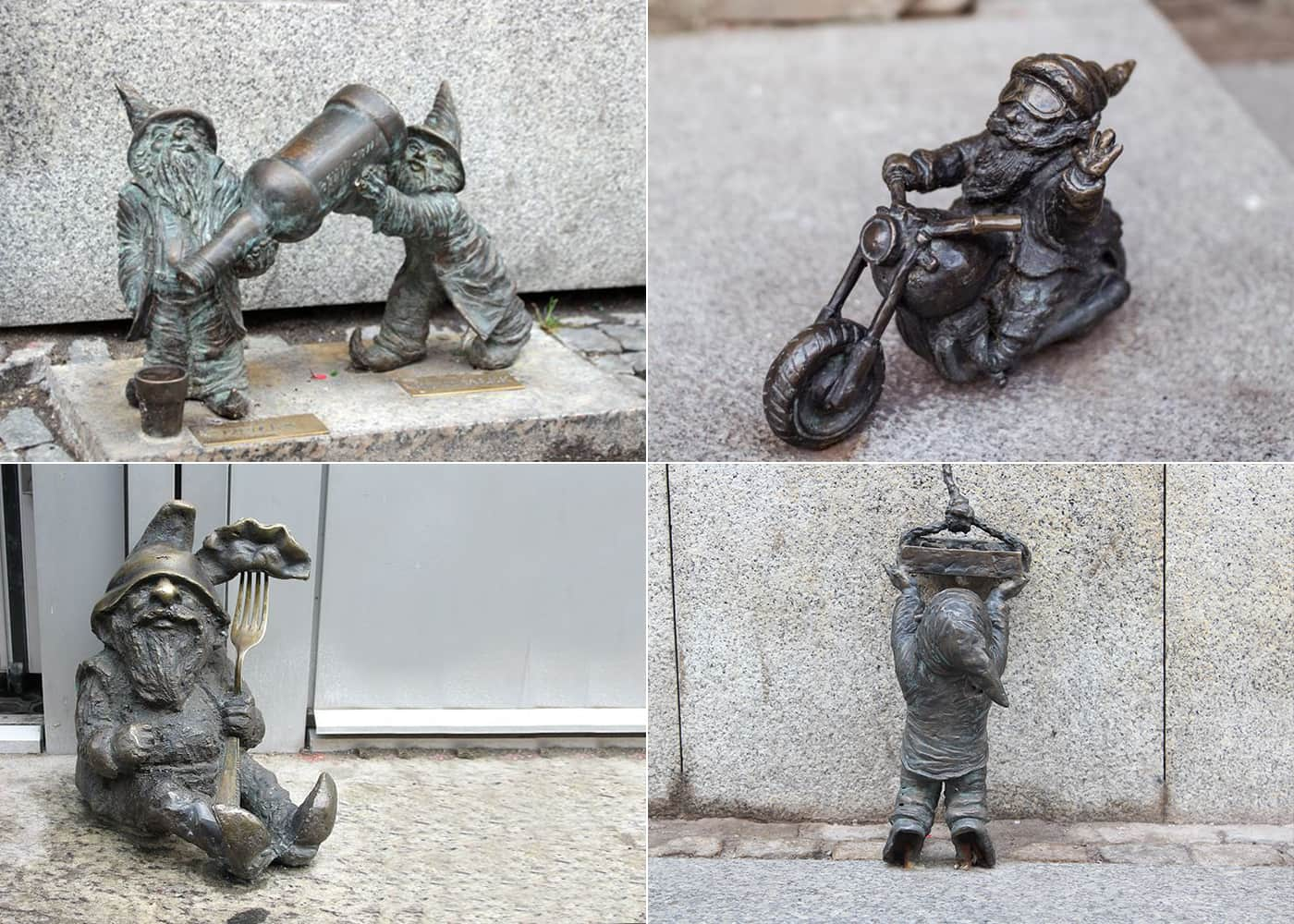 Four tiled images of the Wroclaw dwarfs