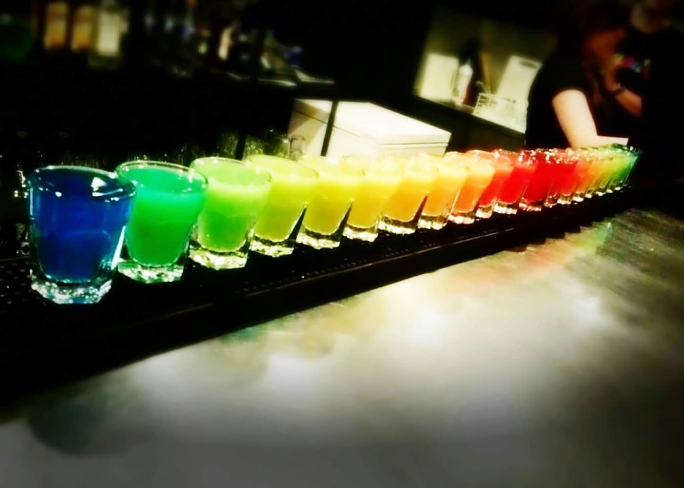 Rainbow shots lined up in Czupito