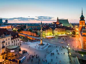The historical centre of Warsaw, Poland, at night