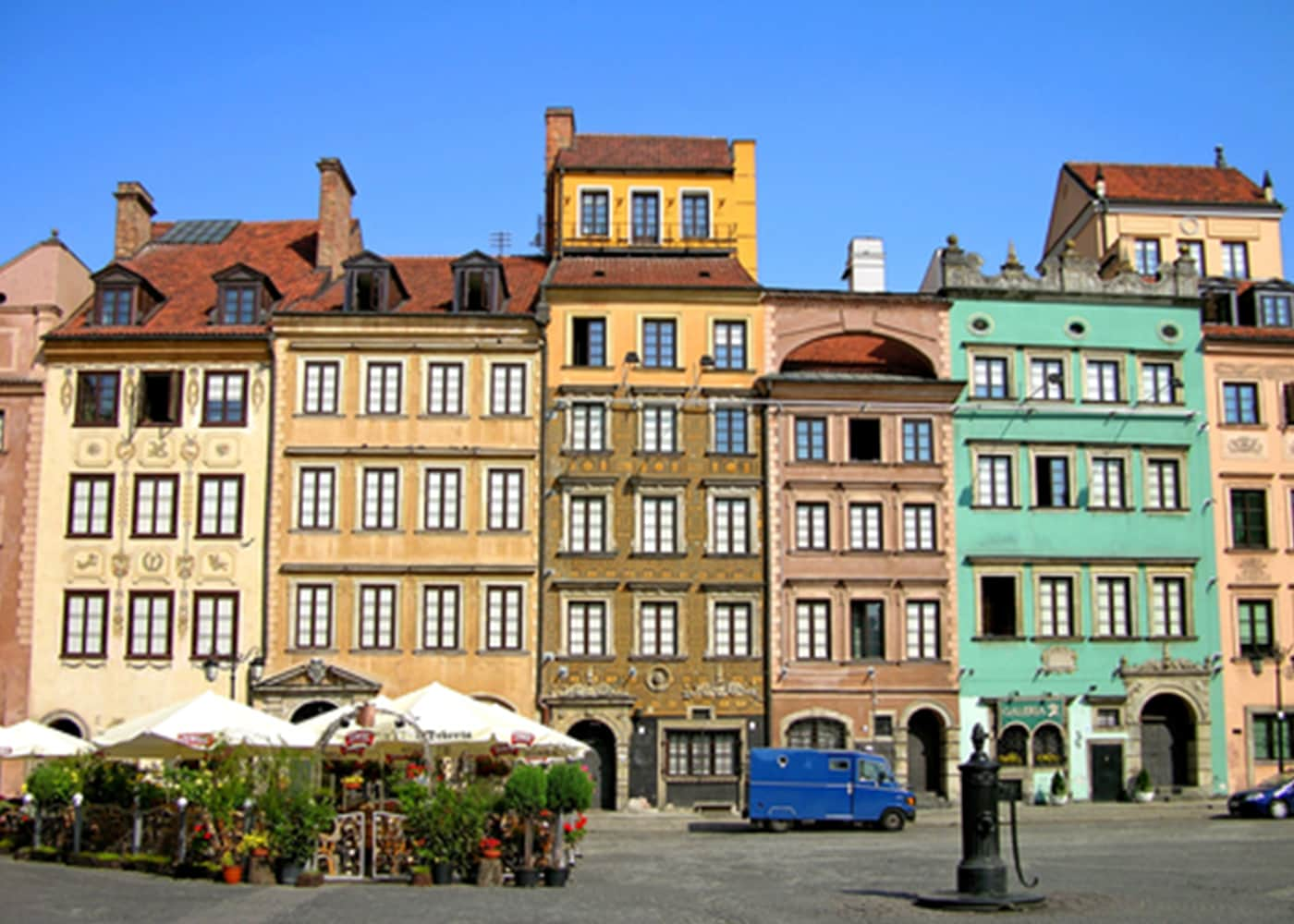 A close up of houses in the historical centre of Warsaw