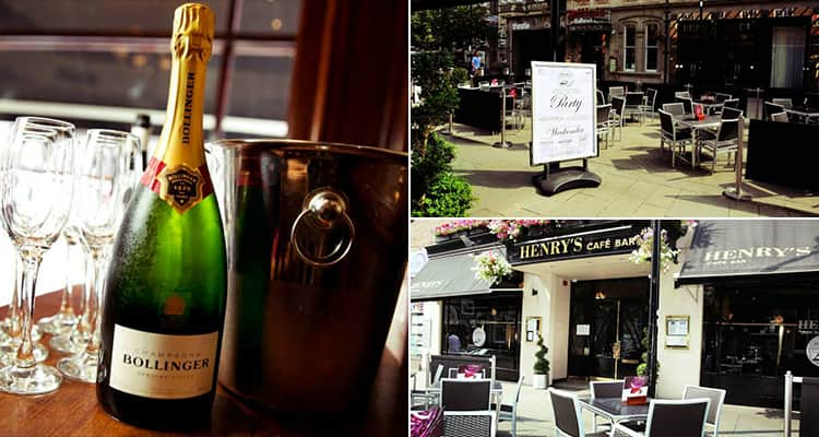 Three images featuring Henry's Bar, Cardiff - including one of a champagne bottle and two of the outside bar